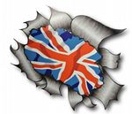 A4 Size Ripped Torn Metal Design With Union Jack British Flag Motif External Vinyl Car Sticker 300x210mm